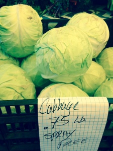 Green cabbage at the farmer's market. Only 0.75 a pound!